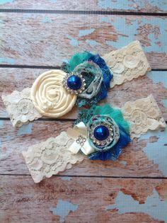 PEACOCK wedding garter set / bridal  garter/  lace garter / toss garter included /  wedding garter / vintage inspired  on Etsy, $24.99
