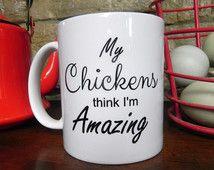 Funny Chicken Coffee Mug, Coffee Cup, Chicken Art, Kitchen Decor, Chicken Mug, Chicken, Egg Sign, Fresh Eggs, Rooster