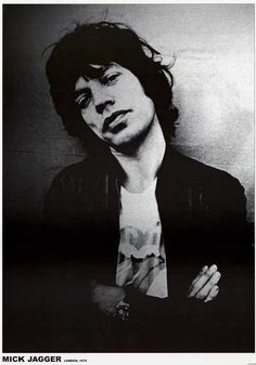 A great portrait poster of Rolling Stones front-man Mick Jagger in London in 1975! He's hip enough to wear his own t-shirt! Ships fast. 24x33 inches. Get some satisfaction! Check out the rest of our g                                                                                                                                                     More