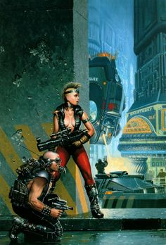CYBERPUNK. Keith Parkinson The cover to Go Tell the Spartans by Jerry Pournelle and S.M. Stirling.