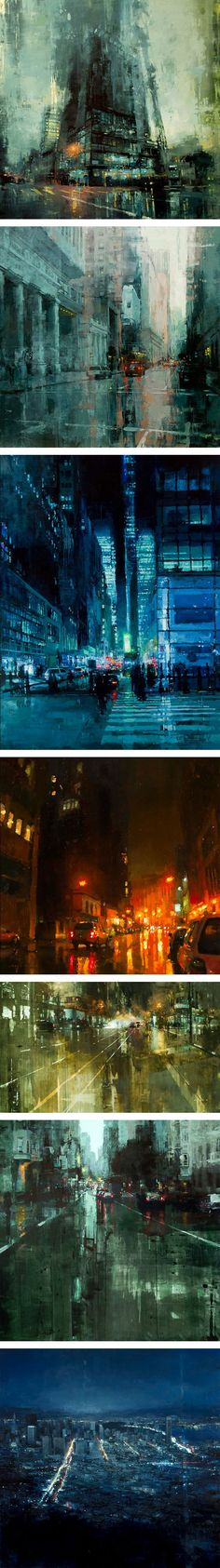 I like how these are abstract, but they give the impression of being real at the same time. Cityscapes Painted with Oils by Jeremy Mann Lv Jeremy's artwork..JR