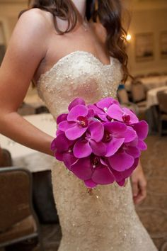 Beautiful Blooms Events - Sarah MIller Photography - Purple phalaenopsis orchid bridal bouquet