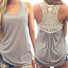 Mosunx(TM) Sexy Women Lace Vest Top Sleeveless Blouse Fashion Tank Tops T-Shirt *** To view further for this item, visit the image link.