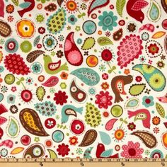 Wide Pretty Paisley Flannel Birds & Paisleys Retro Ivory Fabric By The Yard Car Fabric, Fabric Shop, Quilting Fabric, Paisley Fabric, Paisley Pattern, Rag Quilt, Quilts, Flannel Blanket, Fashion Fabric