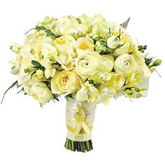 Brides.com: . Symbolizing a soldier's return, yellow ribbon decorates the stems of this bouquet of miniature Phalaenopsis orchids, Antique Romantica garden roses, elegance ranunculus, piccotee lisianthus, Alexander Dutch roses and tree ferns, $300, by Belle Fleur, bellefleurny.com.