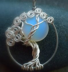 #Tree of Life #Jewelry #Necklace Sea Opal and #Sterling silver for more creations-visit here www.artfire.com/...