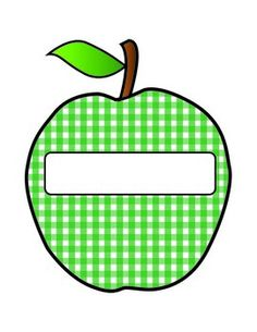 Gingham Apple Nametags - Available in Red and Green
