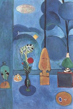 THE BLUE WINDOW - Henri Matisse (most of my favorite Matisse paintings are red, but this is my favorite blue, I think)