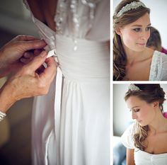 Bridal preparations for a wedding at The Barn At South Milton. Beautiful bride in a floaty dress