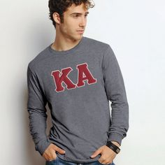 Kappa Alpha Dark Heather Long Sleeve with Sewn On Letters