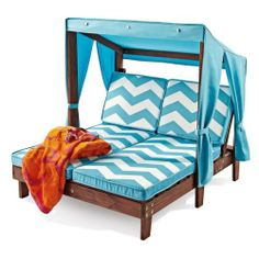 Kid Double Chaise Lounger W/ Canopy Chevron Seat Cushions Weather Resistant Wood