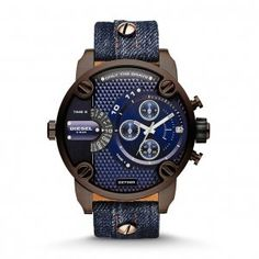 Diesel Men's Little Daddy Blue Dial Denim Leather watch DZ7320.  Brown plating and dark blue denim create the perfect pair in this stylish rendition of Little Daddy.
