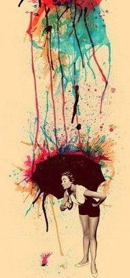 Rain - melting crayon art