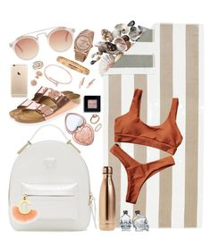 """""""beach iii"""" by carmenledesma ❤ liked on Polyvore featuring Pottery Barn, S'well, Birkenstock, Versace, Fendi, Too Faced Cosmetics, Bobbi Brown Cosmetics, Cartier, Marc by Marc Jacobs and Bloomingdale's"""