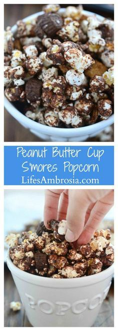 Peanut Butter Cup S'mores Popcorn one heck of a salty/sweet snack. It is loaded with popcorn, peanut butter cups, marshmallows, graham cereal and chocolate.