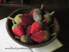 Woodland Primitives | Primitive Handmades Mercantile velvet strawberries...set of 4