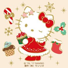 MerryChristmas☆♪☆♪-(・c_,・◎) Cat Christmas Cards, Hello Kitty Christmas, Christmas Cartoons, Christmas Wishes, Xmas, Merry Christmas, Hello Kitty Vans, Hello Kitty My Melody, Hello Kitty Items