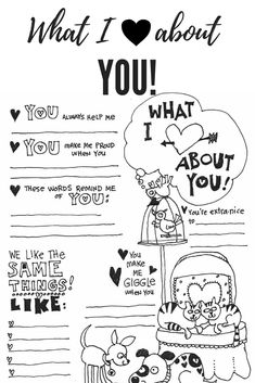 """Free Valentine Coloring Pages - FREE Valentines Day Coloring Pages. Share how much you love someone. With this """"What I Love Abou - My Funny Valentine, Valentines Day Poems, Valentine Day Special, Valentines For Kids, Valentine Day Crafts, Valentine Party, Printable Valentines Coloring Pages, Valentines Day Coloring Page, Heart Coloring Pages"""