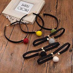 Amazon.com: Random Color Fuzzy Ball Collar Necklace Black Choker Necklace Christmas Gift 1 Pc: Jewelry