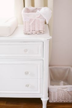 Soft and sweet pink nursery with shades of taupe, gray, and ivory. Nursery Design by Hillary Yeager of Brocade Designs, photos by Jenna Henderson. Details at Ontobaby.com