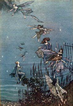 Arthur Rackham ~ The Fairies of the Serpentine ~ Peter Pan in Kensington Gardens~ 1906~via Enjoy theArt of Narrativeonblogger,faceboo...