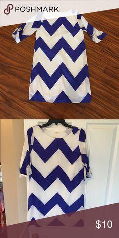 Blue and white chevron print dress Cute white and royal blue chevron print, 3/4 sleeve dress Everly Dresses Midi