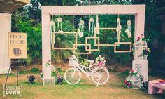 elegant photobooths , vintage photobooth , bicycle booth , multiple frames, hanging glass bottles