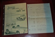 Vtg 1959 Willys Jeep FC 170 Parts List NM w 1960 Supplement N | eBay