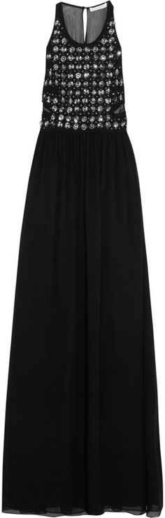 $295, Crystal Embellished Silk Chiffon Gown by Diane von Furstenberg. Sold by The Outnet. Click for more info: http://lookastic.com/women/shop_items/144478/redirect