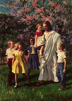 """Matthew - """"But Jesus said, Suffer little children, and forbid them not, to come unto me: for of such is the kingdom of heaven. And he laid his hands on them, and departed thence. Jesus Is Risen, Jesus Is Lord, Jesus Loves, Jesus Christ Painting, Jesus Art, Pictures Of Jesus Christ, Bible Pictures, Lds Art, Bible Art"""