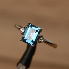 London blue topaz ring emerald cut ring gemstone engagement