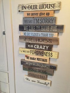 NEW Family Rules...In Our House...House Rules Sign! Customize it! We Do and We Say.Made out of pallets, reclaimed wood or what I have around by likeIsaid on Etsy