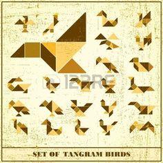 tangram: Set of grunge tangram birds