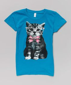 Another great find on #zulily! Turquoise Cat Tee - Kids & Tween #zulilyfinds