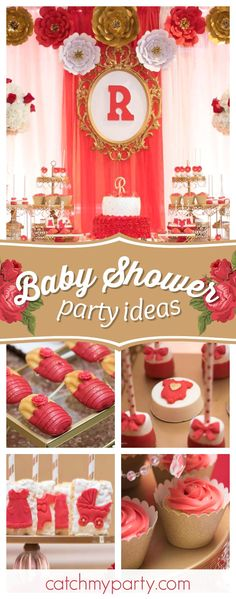 Take a look at this beautiful Ruby Rose Baby Shower! The dessert table is dazzling!! See more party ideas and share yours at CatchMyParty.com #partyideas #babyshower