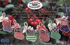 Park Avenue Needlepoint in Oakwood (Dayton) has six delightful mini-socks from Associated Talents for their newest club. Each kits includes the canvas, threads, beads, and stitch guide. Sign up her…
