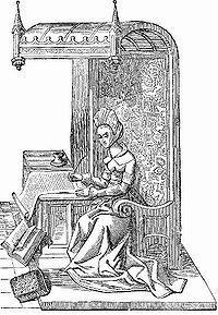 Christine de Pisan, fue una filósofa, poeta humanista y la primera escritora profesional de la historia. Christine fue exitosamente educada en forma autodidacta, en lenguas hablando Francés, Italiano y Latín. Ahí redescubrió los clásicos y el humanismo del renacimiento temprano y en el archivo real de Carlos V que albergaba un vasto número de manuscritos. De esta forma pasó su infancia en la corte del rey Carlos V de Francia, de quien posteriormente escribió su biografía.