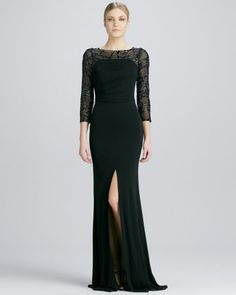 Sequined-Sleeve Jersey Gown by David Meister at Neiman Marcus.