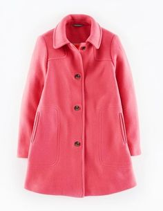 New-6P PETITE-BODEN-Womens Emilie Coat-Wool Blend Classic-Coral Reef-Dark Pink #Boden #DuffleCoat #Evening