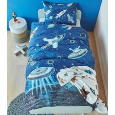 Space quilt cover set is  perfect for children with an interest in space and astronomy. Available in single and double bed sizes.