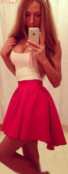 This is a sweet O-neck short mini dress,splicing color,white top and bright red,very lovely,with irregular shirt,stretch waistline,also it have a invisible zipper at the side.energy and shine in this