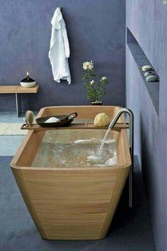 45 Stylish Wooden Bathroom Design Ideas: 45 Stylish Wooden Bathroom Design Ideas With Wooden Bathtub And Concrete Walls Design Wood Tub, Wooden Bathtub, Wooden Bathroom, Wood Bath, Zen Bathroom, Bathroom Furniture, Natural Bathroom, Japanese Bathroom, Bathroom Interior