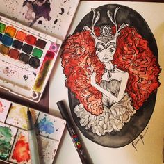 #art #design #illustration #copic #rabiscos #brasilidade #estamparia #pattern #cores #drawing #fashiondrawing #woman #draw #queen #watercolor  instagram:@rubianareolon