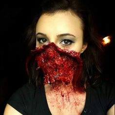 I don't usually go for the gore effects, but this one is worthy of note. DArk Oak. Liquid latex, toilet paper, Ben bye nose and scar wax, fake blood
