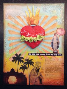 Baz Luhrmann Romeo and Juliet inspired canvas using Tim Holtz paints