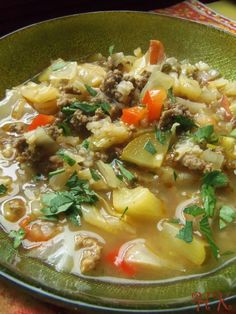 Beef and Cabbage Soup in a Tomatillo Broth - Great soup, and easy to low carb by skipping the rice. (Sub with more zucchini, 'riced' cauliflower, or possibly hemp hearts.)