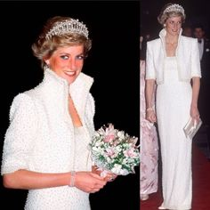 Princess Diana in one of my favorite dresses by Catherine Walker and wearing one of my favorite Tiara's--the Cabridge Lover's Knot.  #princessdiana