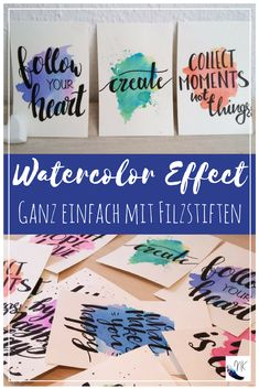 Einfaches Watercolour / Aquarell Handlettering DIY – von Einfaches Watercolour / Aquarell Handlettering DIY – von,Handlettering Farbenfroh Handlettering mit Wasserfarben Effekt There are images of the best DIY designs in the world. Watercolor Hand Lettering, Easy Watercolor, Watercolour Painting, Paper Design, Diy Design, Tattoo Kind, Cut Out Shapes, Diy Letters, Watercolor Effects
