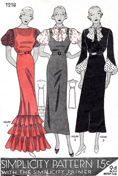 dress sewing pattern vintage evening gown or pinafore day dress 3 styles bust 38 reproduction 1930s Fashion, Vintage Fashion, Fashion Women, Vintage Evening Gowns, 1930s Dress, Vintage Trends, Online Dress Shopping, Vintage Sewing Patterns, Day Dresses