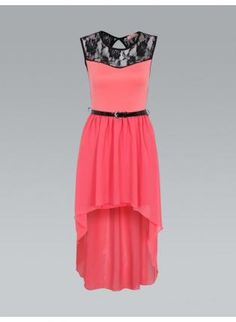 Coral+and+Black+Lace+High+Low+Dress,++Dress,+coral++black++lace++high+low++dress,+Chic